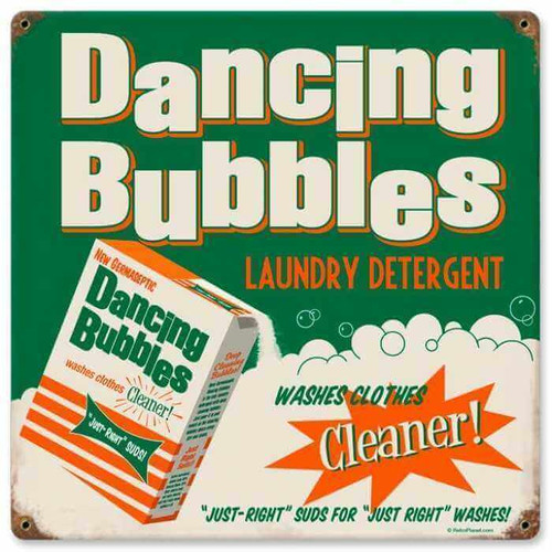Retro Dancing Bubbles Metal Sign   12 x 12 Inches