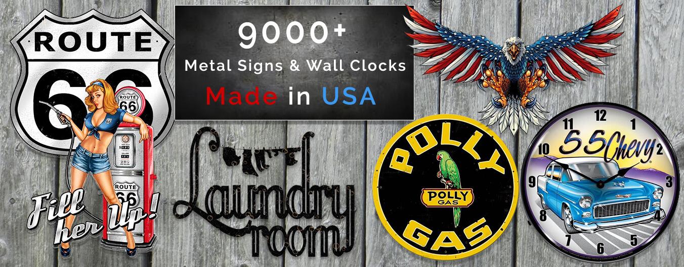 new metal signs and wall clocks