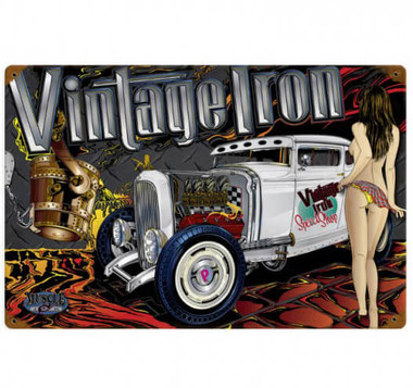 Vintage Rat Rod Vintage Iron Pin Up Girl Metal Sign 18 X 12 Inches