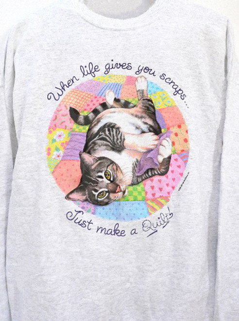 QUILT CAT SWEATSHIRT ASH