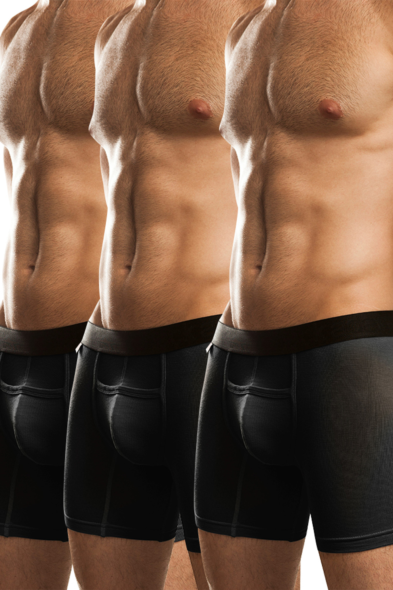 Jack Adams Naked Fit Boxer Brief Multi-Pack: Black (3)