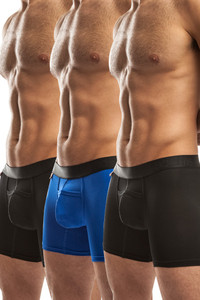 Jack Adams Air Trainer Boxer Brief Multi-Pack in black (2) and royal (1)