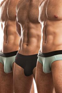 Jack Adams Naked Fit Brief Multi-Pack:  Black (1), Seafoam (2)