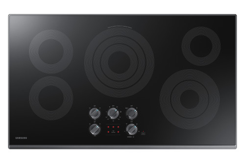 """Samsung 36"""" Black Stainless Steel Electric Smoothtop Cooktop with Wi-Fi Connectivity NZ36K6430RG"""