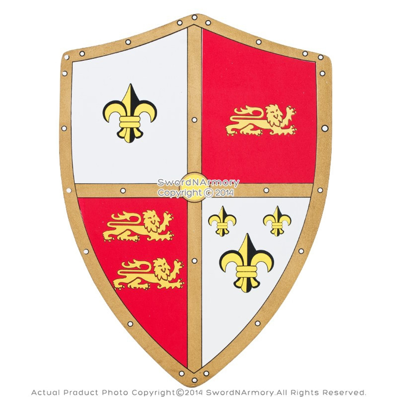 Medieval Royal Crusader Knight Foam Shield W Lion Fleur De Lis Coat