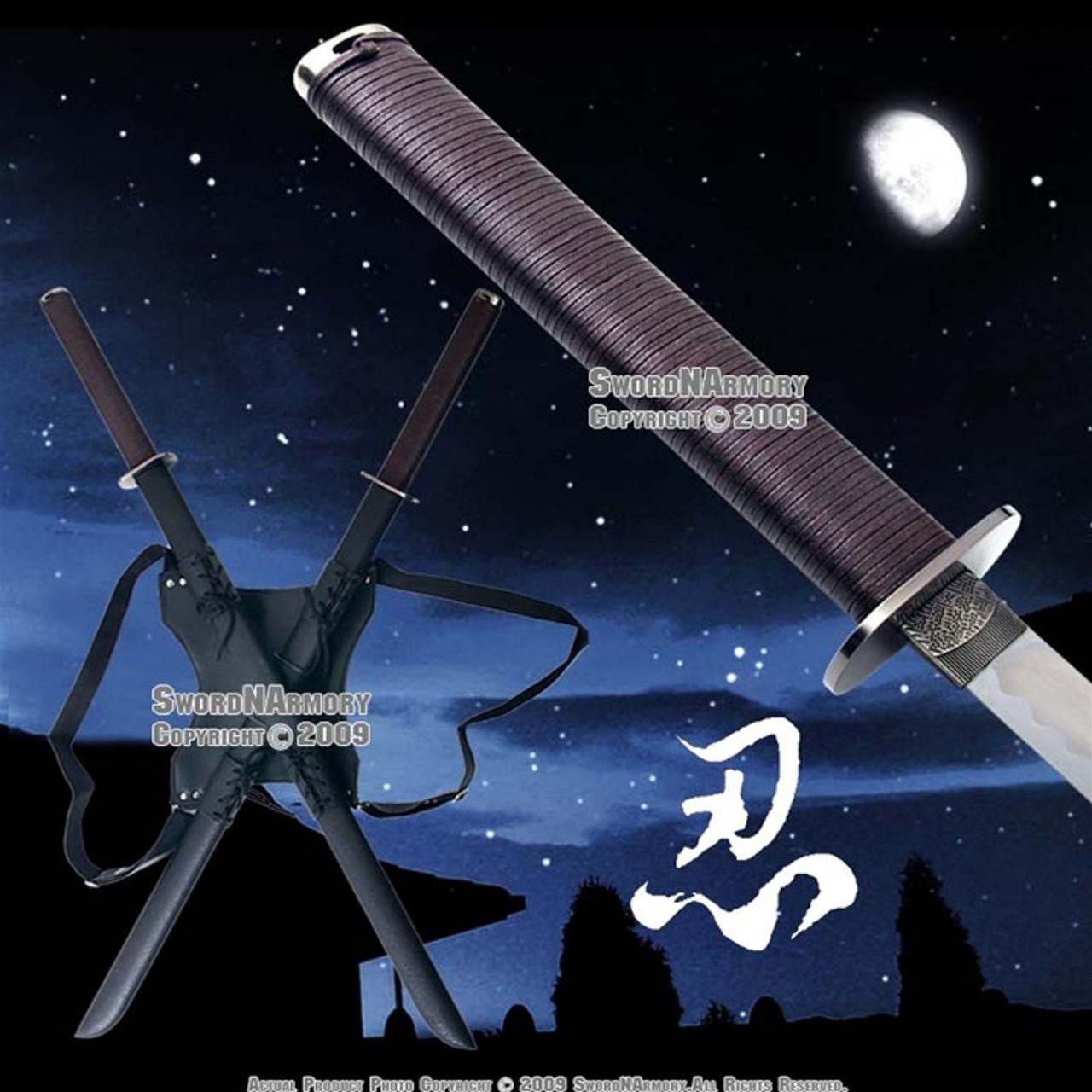 leonardo dual ninja swords w back carrying scabbard