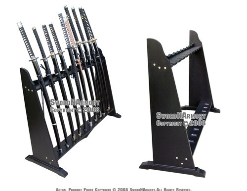 Vertical Shogun Sword Upright Stand Heavy Duty Holds 10