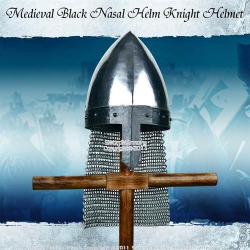 Medieval Black Nasal Helm Knight Helmet W Chain Mail