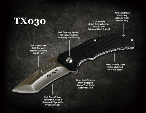Defcon TX030 Proelia Recurve Tanto Point D2 Steel Blade Ball Bearing Liner Lock G10 Handle Tactical Folding Knife (variety of handle colors and blade finishes)