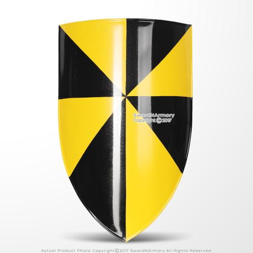 Campbell Medieval Battle Shield 18 Gauge Steel w/  Grip Leather Strap LARP