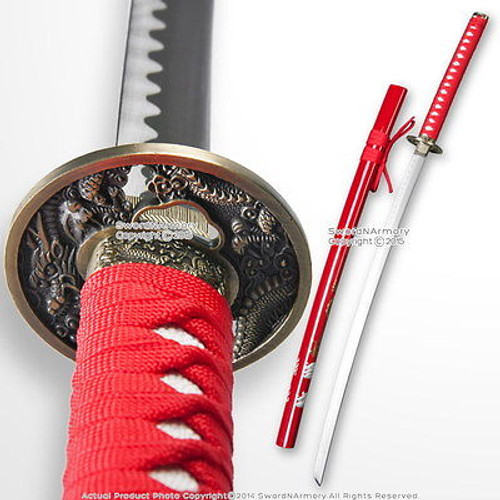 Classic Japanese Style Samurai Katana Sword with Dragon Painted Red Scabbard