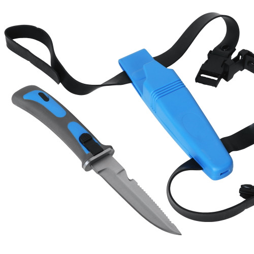 Scuba Diving Knife Rubber Grip with Secure Sheath and Leg Straps Serrated Blade