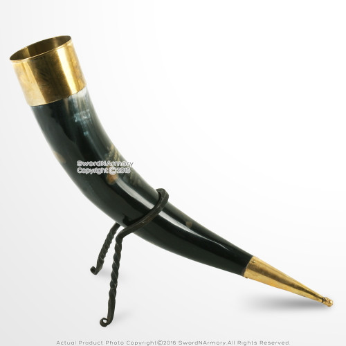 Genuine Cow Drinking Horn Bos Taurus with Burnt Effect Brass Fittings and Stand