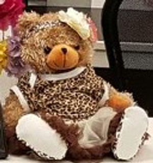 HeartBeat Brown Bear in Leopard Print Dress & Shoes & Headband