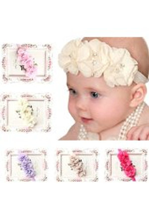 Elastic Headband with Chiffon Flower
