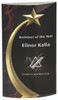 Clear Acrylic Convex Award with Black and Red Shooting Star Backdrop 167