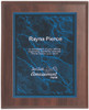 Blue Marble Plaque with Dark Wood Backdrop 346