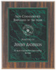 Green Marble Plaque with Dark Wood Backdrop 358