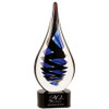 Blue and Black Twist Rain Drop Art glass Statuette