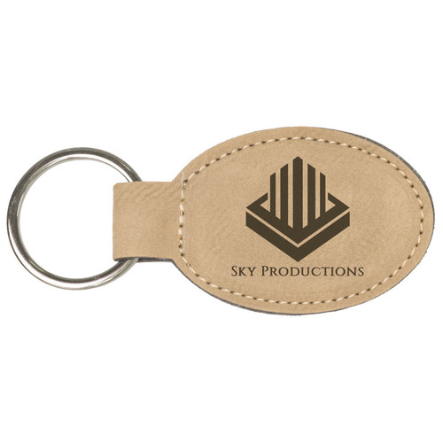 Leatherette Oval Tag Key Ring