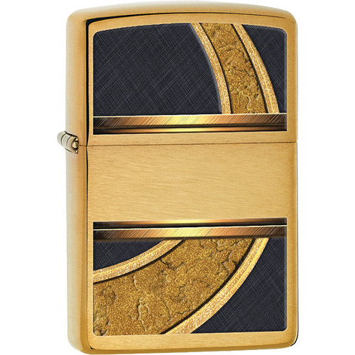 Zippo® Black and Gold Circle Brushed Brass Lighter
