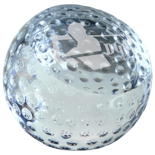 Large Crystal Golf Ball Paperweight