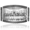 Last Supper engraving on metal serving tray