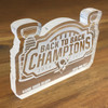 Pittsburgh Penguins Game Used Glass Stanley Cup Commemorative Cut Out