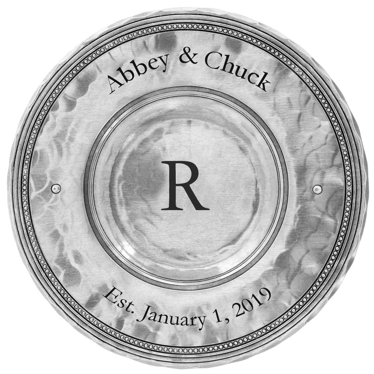 engravable candle plate with monogram for personalized gift giving