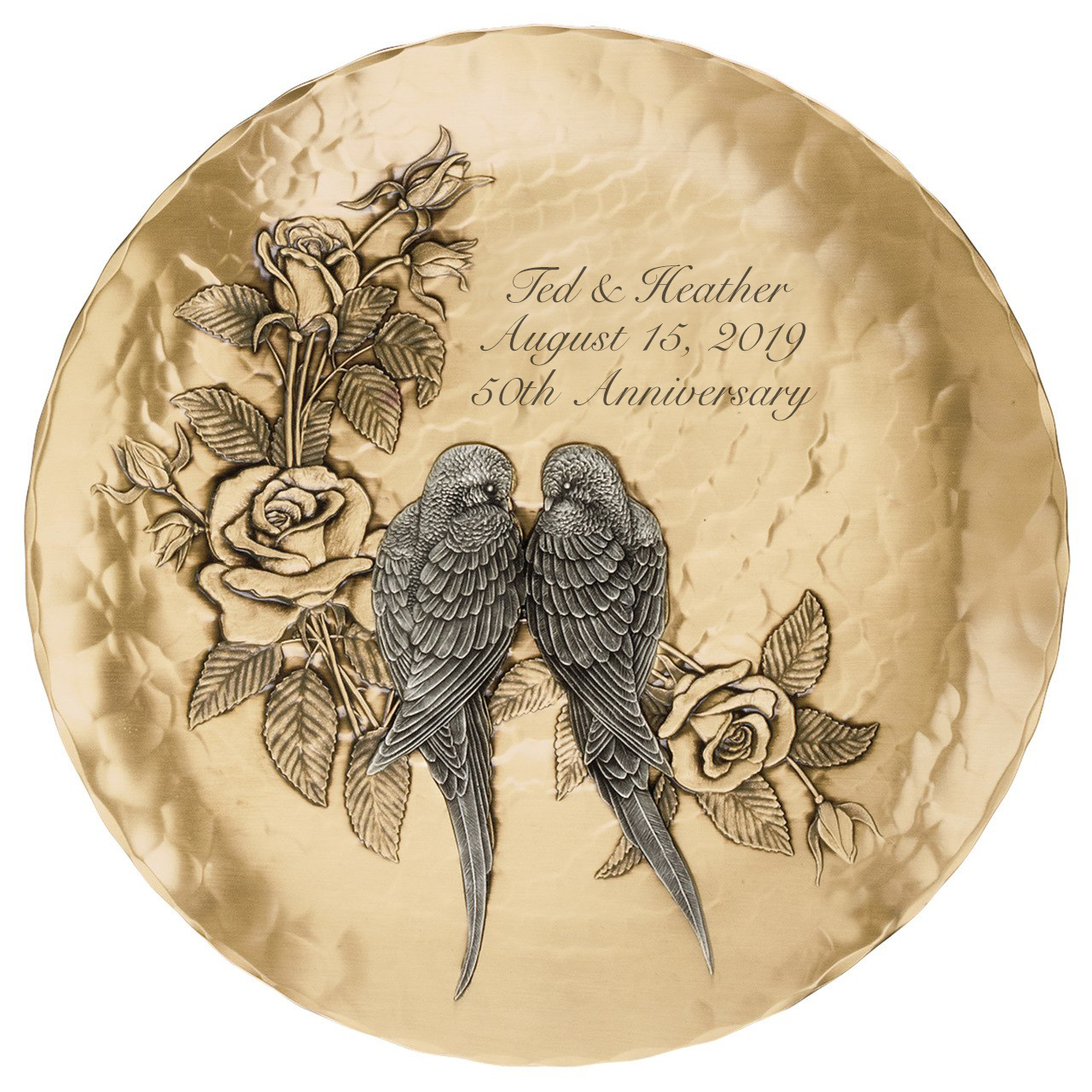 Personalized Mixed Metal Love Birds Wedding or Anniversary Plate ...