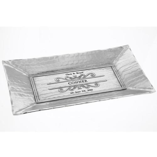 Custom engraved filigree serving tray
