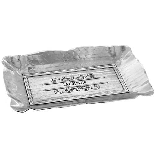 Classic scalloped edge engraved serving dish
