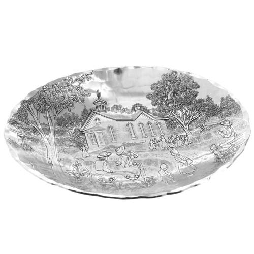 Schoolhouse Decorative Metal Oval Bowl