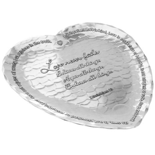 Love never fails inscribed, heart-shaped tray