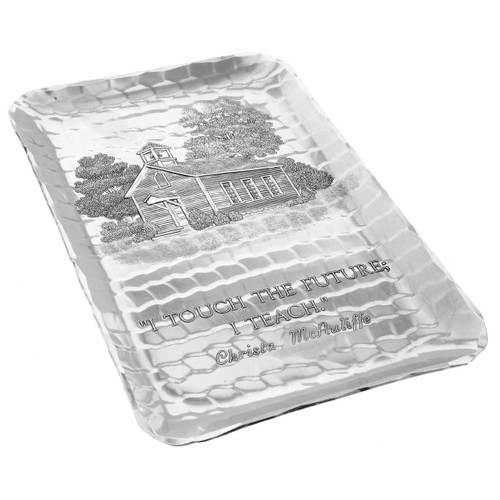 Hand hammered aluminum tray with old schoolhouse