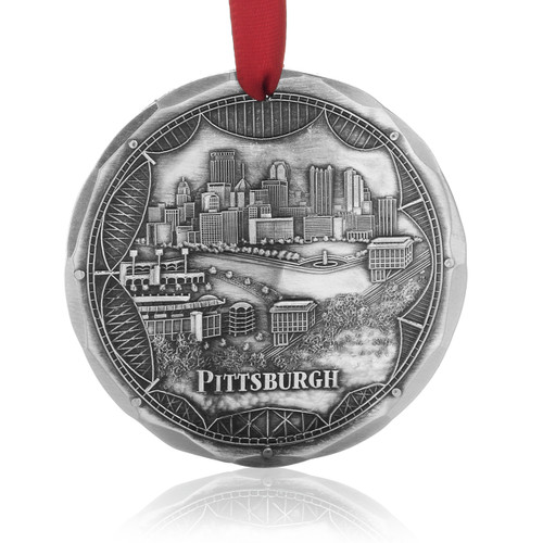 Pittsburgh Bridges Skyline Christmas Ornament