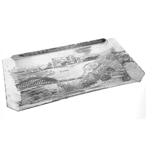 Hand carved Pittsburgh theme hostess tray