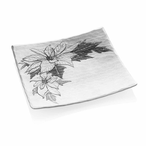 Metal appetizer dish engraved with poinsettias