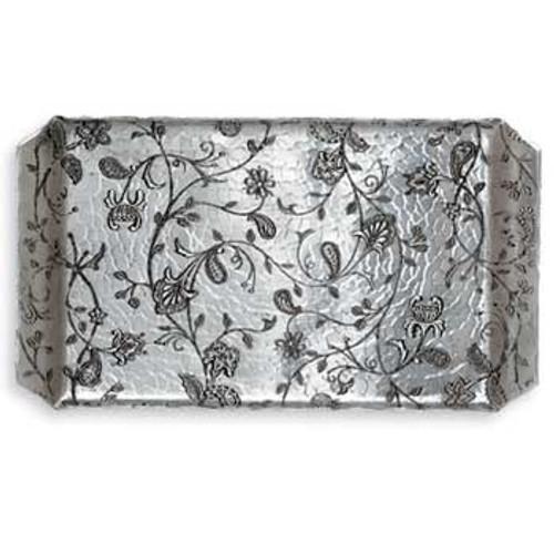 Handmade aluminum tray with floral trellis design
