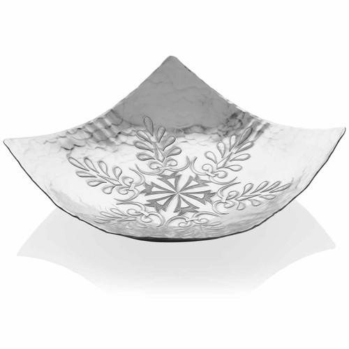 Snowflakes Decorative Metal Centerpiece Bowl