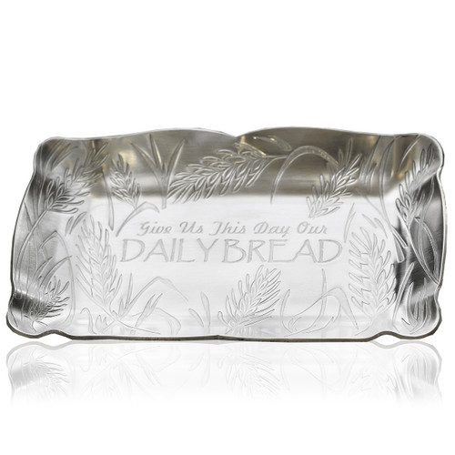 Bread tray with Lord's Prayer Etched in Aluminum