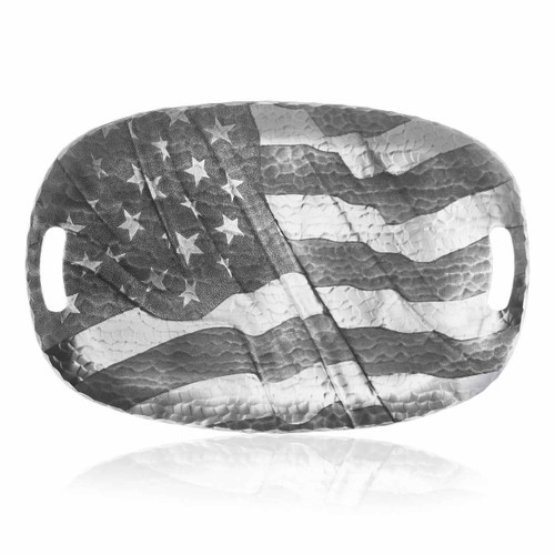 Serving tray engraved with American flag