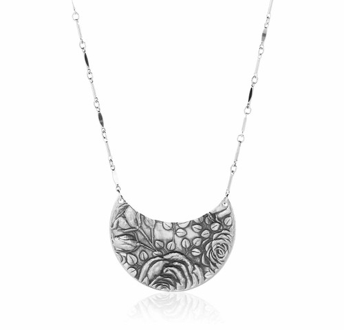 Recycled Metal Rose Necklace American Made
