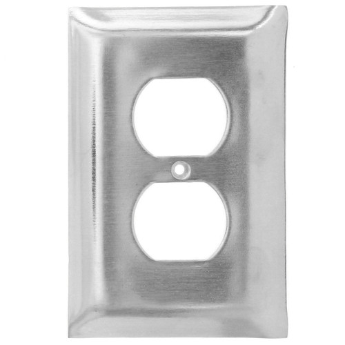 Brushed Aluminum Single Outlet Cover