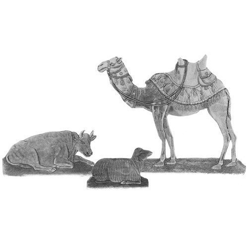 Nativity Standing Animal Set #2 - Standing Camel, Reposing Cow and Sheep