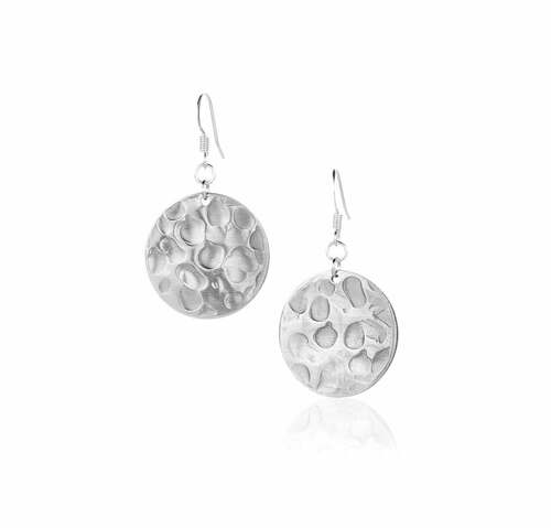 Recycled Hammered Metal Round Stud Earrings