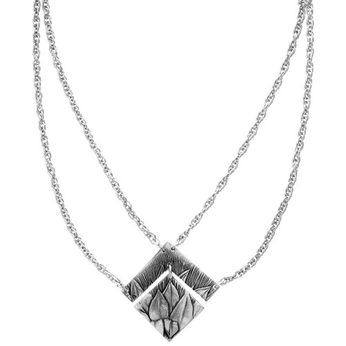 Recycled Floral Pattern Metal Diamond Shaped Necklace