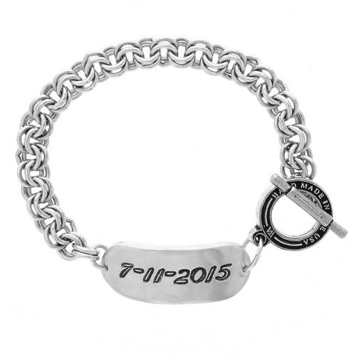 Personalized Recycled Engraved Ellipse Fashion Bracelet