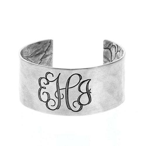 Upcycled Engraved Monogram Hydrangea Bracelet