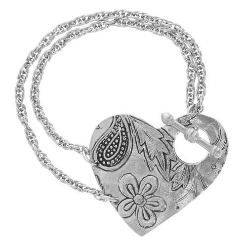Tracery Heart Toggle Bracelet